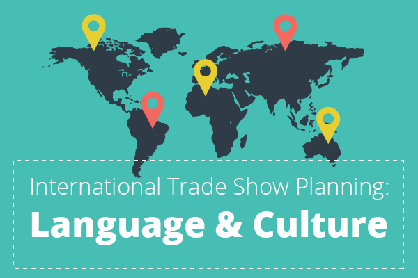 A map with pins that represent international trade show planning: language and culture