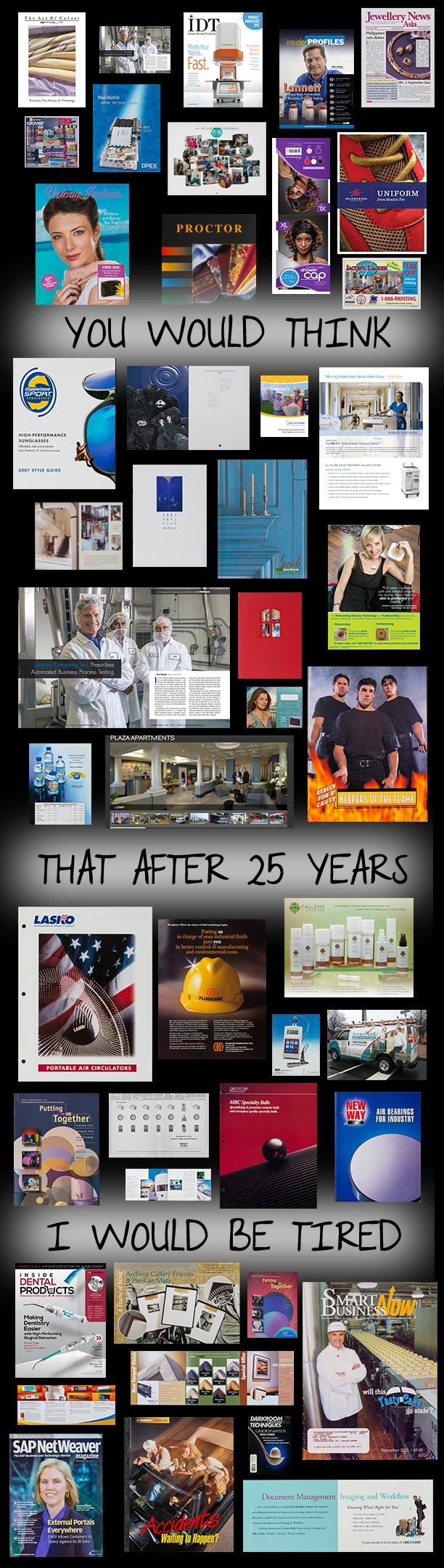 A collage from MarCom Alliance partner Pau Hanna Productions, which is celebrating 25 years in commercial photography.
